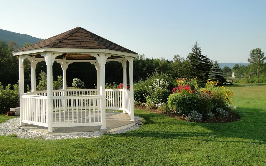 Gazebo garden structure in a perfectly landscape garden