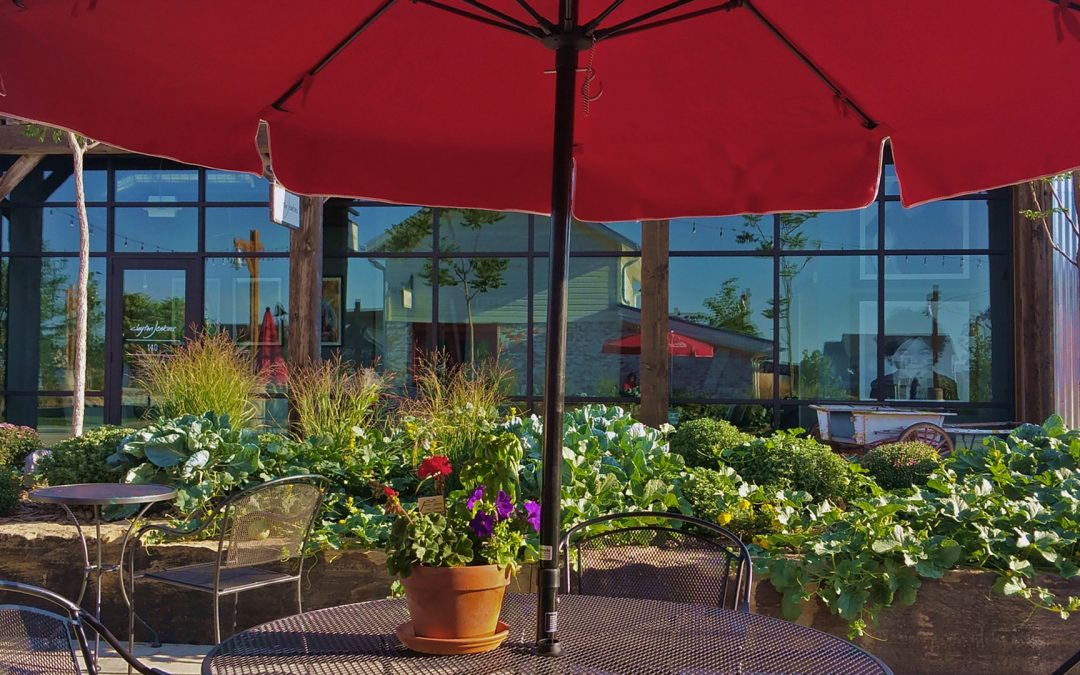 Outdoor restaurant landscaping ideas with green shrubs and beautiful flowers